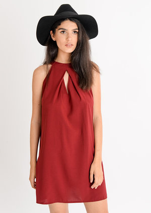 Lia High Neck Keyhole Swing Dress Oxblood