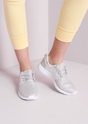Luxe Silver Glitter Faux Leather and Mesh Trainers Silver