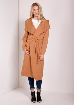 Madline Camel Long Waterfall Overcoat
