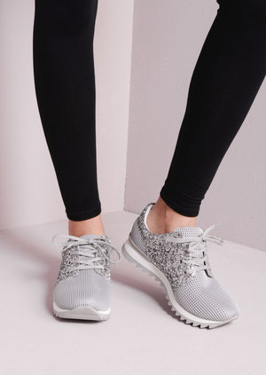 Mesh with Silver Glitter Cleated Sole Sneakers Trainers