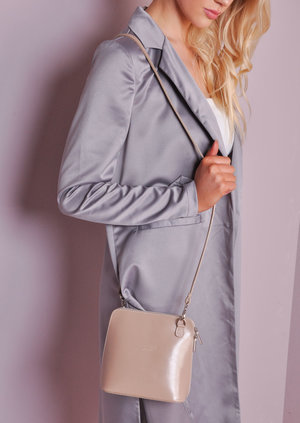 Mini Leather Shoulder Bag With Removable Straps Nude