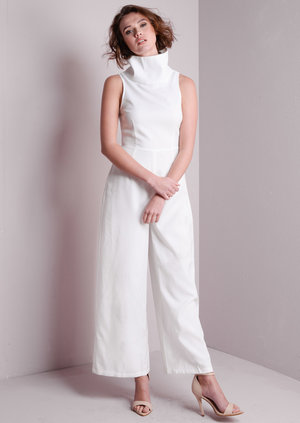 Naya High Neck White Jumpsuit