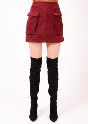 Pia Suede Front Pocket Skirt Oxblood