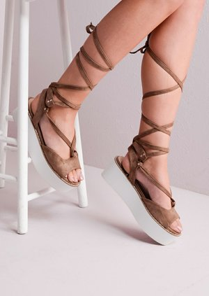 Platform Lace Up Wedge Flat Espadrille Sandals Suede Mocha