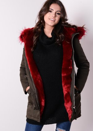 Red Faux Fur Hooded Full Fleece Parka Coat Khaki Green