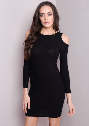 Ribbed Cold Shoulder Bodycon Mini Dress Black