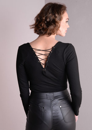 Ribbed Long Sleeve Bodysuit With Lace Up Back Black
