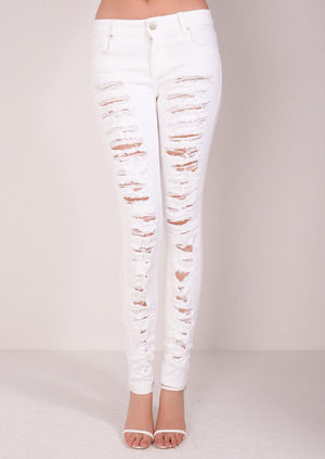 Rita Super Ripped Jeans White
