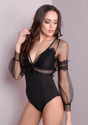 Sheer Deep V-Neck Lace Bodysuit Black