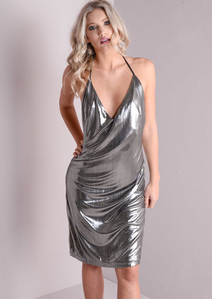 Slinky Metallic Open Back Plunge Neck Dress Silver