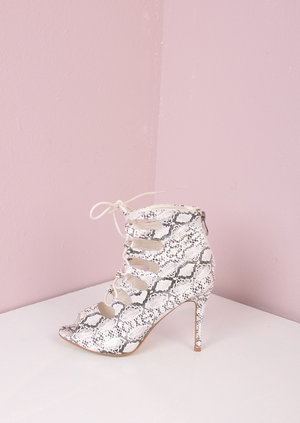 Snakeskin Lace Up Heeled Sandal