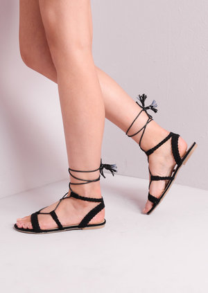 Suede Lace Up Strappy Gladiator Sandals Black