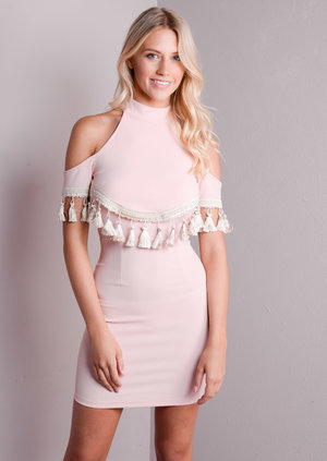 Tassel Choker Cold Shoulder Bodycon Dress Nude