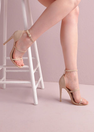 Three Straps Barely There Stiletto Sandals Nude