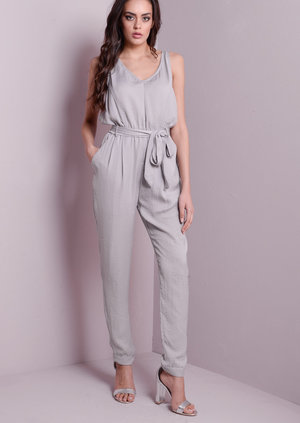 V-Neck Lace Up Back Silk Feel Jumpsuit Grey