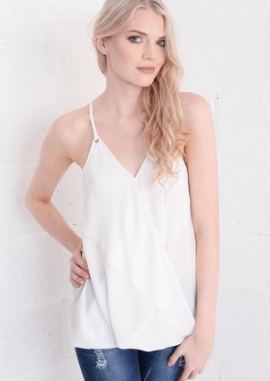 Wrap Front Eyelet Cami Top White