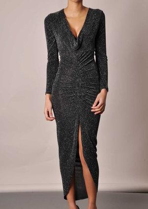 Adriana Plunge Glittery Midi Dress
