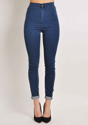 Amara High Waisted Skinny Jeans in Dark Blue