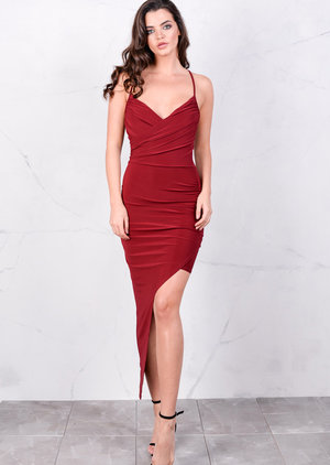 Asymmetric Wrap Front V Neck Bodycon Mini Dress Red