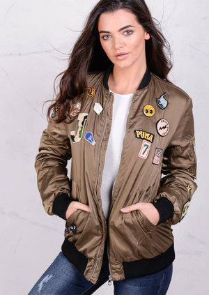 Badged Detail Premium Longline Satin Bomber Jacket Khaki Coat