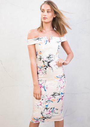 Bardot Bodycon Midi Dress Floral Pink