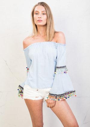 Bardot Off the Shoulder Bell Sleeve Pom Pom Crop Top Blue