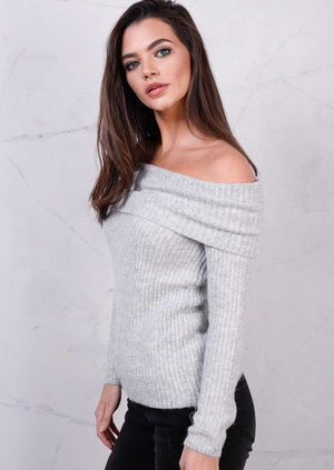 Bardot Off The Shoulder Jumper Top Grey