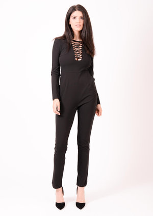 Marie Lace Up Long Sleeve Jumpsuit Black