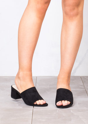 Block Heels Suede Heeled Mule Sandals Black