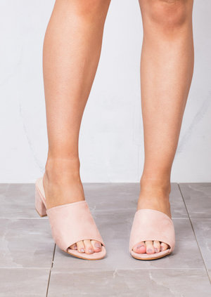 Block Heels Suede Heeled Mule Sandals Pink