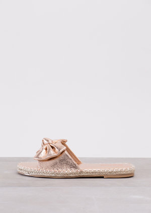 Bow Espadrilles Sliders Metallic Rose Gold