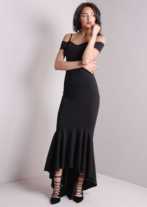 Strappy Mermaid Fishtail Off Shoulder Maxi Bodycon Dress Black