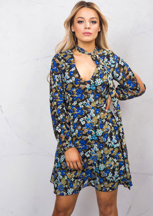 Choker Floral Summer Dress With Split Long Sleeve Black