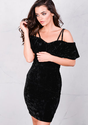 Crushed Velvet Strapped Bardot Off The Shoulder Mini Dress Black