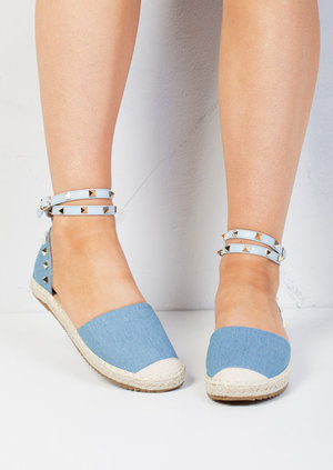 Denim Studded Espadrilles Light Blue