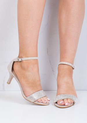 Diamante Embellished Heeled Sandals Beige