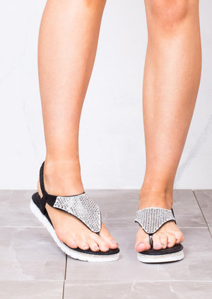 Diamante Embellished Sandals Black