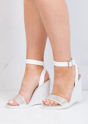 Diamante Embellished Wedge Sandals White