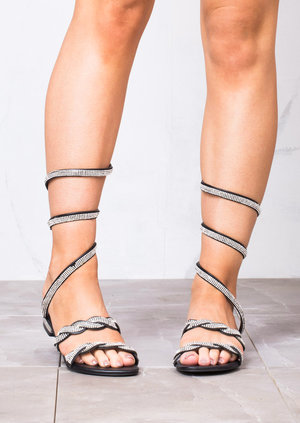 Diamante Gladiator Strappy Flats Sandals Black