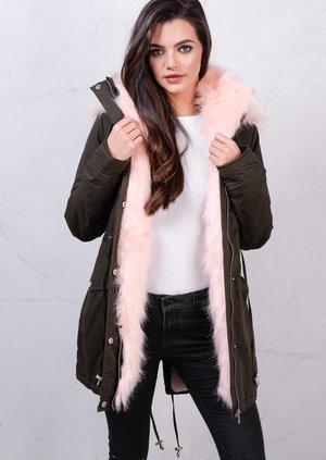 Dusty Pink Faux Fur Hooded Full Fleece Parka Coat Khaki Green