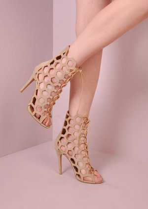 Lace Up Caged Geometric Suede Heels Nude