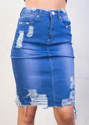 Extreme Ripped Midi Bodycon Denim Skirt Bright Blue