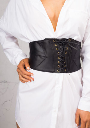 Eyelet Lace Up Corset Belt Black