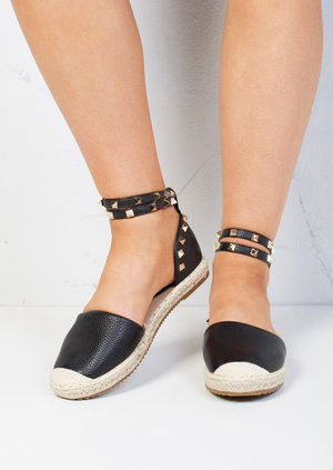 Faux Leather Studded Espadrilles Black