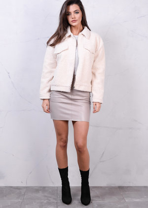 Faux Shearling Sherpa Trucker Jacket Cream