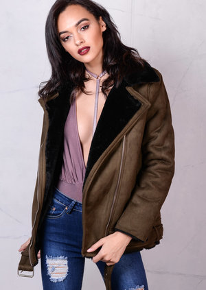 Faux Suede and Shearling Oversized Aviator Jacket Khaki Green