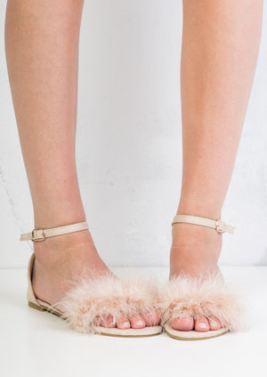 Feather Peep Toe Flat Sandals Beige