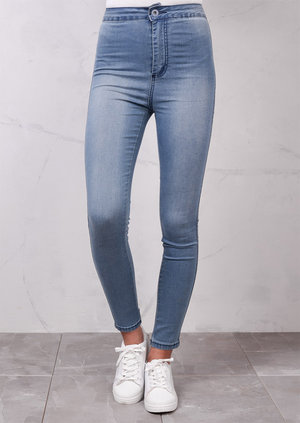 High Waisted Super Skinny Stonewash Jeans Light Blue