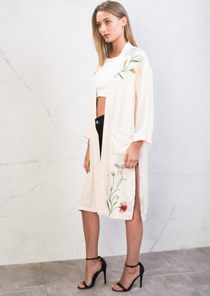Floral Embroidered Kimono Top Pink