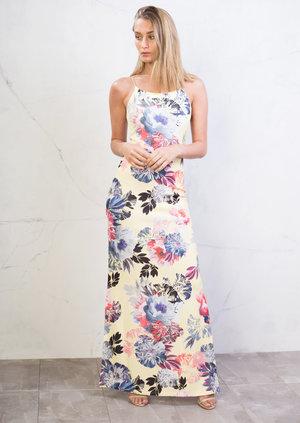 Floral Side Split Strappy Maxi Dress Yellow